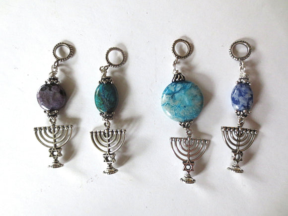 Hanukkah Menorah with beautiful gemstone pendant all sterling silver