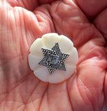 Pin or brooch mother of pearl button one of a kind