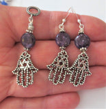 Hamsa filigree pendant and earrings Star of David jewelry set gemstone choice
