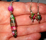 Sea Sediment jasper cylinder pendant and earrings set lots of pink