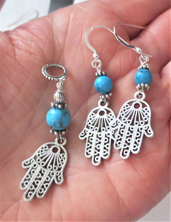 Hamas filigree pendant and earrings set turquoise gemstones