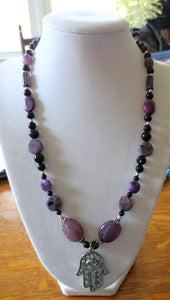 Hamsa gemstone purple necklace