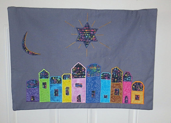 New Moon quilted applique wall hanging
