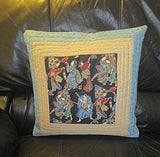 Asian quilted pillow covers reversible pair geishas and samari characters