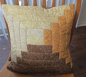 Earthy browns quilted pillow cover log cabin design neutral calicos