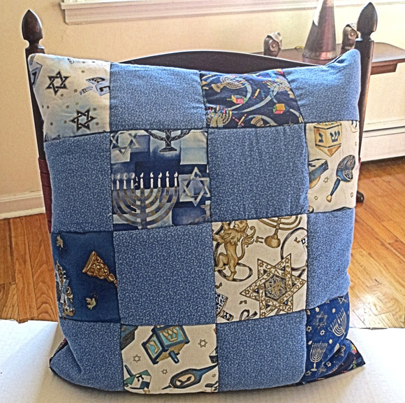 Hanukkah quilted pillow cover patchwork dreidels menorahs metallic golds blues reversible