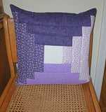 Purple calico patchwork quilted pillow cover log cabin design lavender lilac great colors