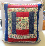 Mahjong quilted pillow cover log cabin design mah jong fabric red royal blue