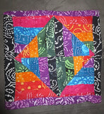 Batik colorful pillow cover squares triangles rhombus design reversible.