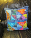Batik quilted pillow cover pretty bright batiks reversible triangles squares design