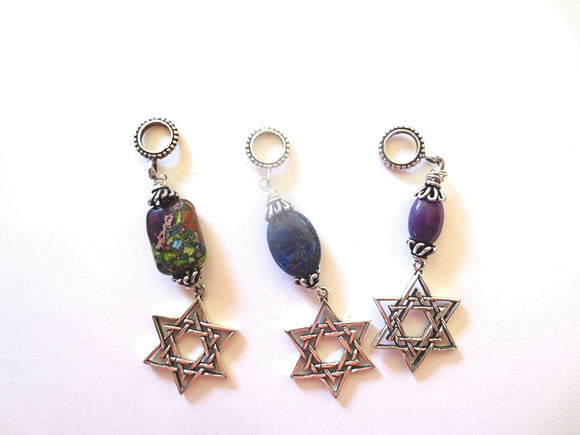Gemstone pendant with sterling silver Star of David