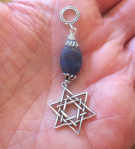 Lapis Lazuli  Star of David all sterling silver pendant