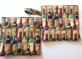 Quilted pot holders or trivets thick double insulated handmade useful home decor --Owls, wine, beer, Mahjong, Judaica themes