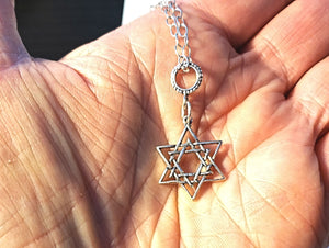 Sterling Silver Woven layered Star of David Euro Pendant  all sterling silver