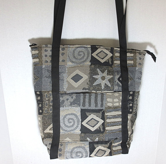 Tapestry tote bag black tan beige gorgeous pattern adjustable handles weather proof tons of zippered compartments organizing large purse --- great for back to school