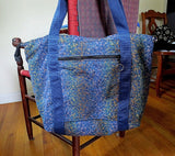 tapestry tote bag in blue purple gold