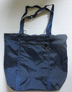 Navy Blue zippered tote bag adjustable handles weather proof simple cloth tote