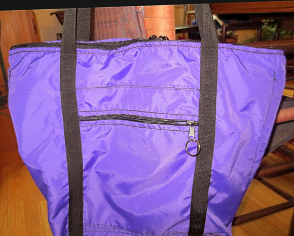 Purple zippered tote bag adjustable handles weather proof tons of zippered organizing compartments large purse project bag