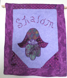 Quilted Hamsa purples applique wall hanging Shalom one of a kind Hand of Fatima with an evil eye Peace wall decor---great gift