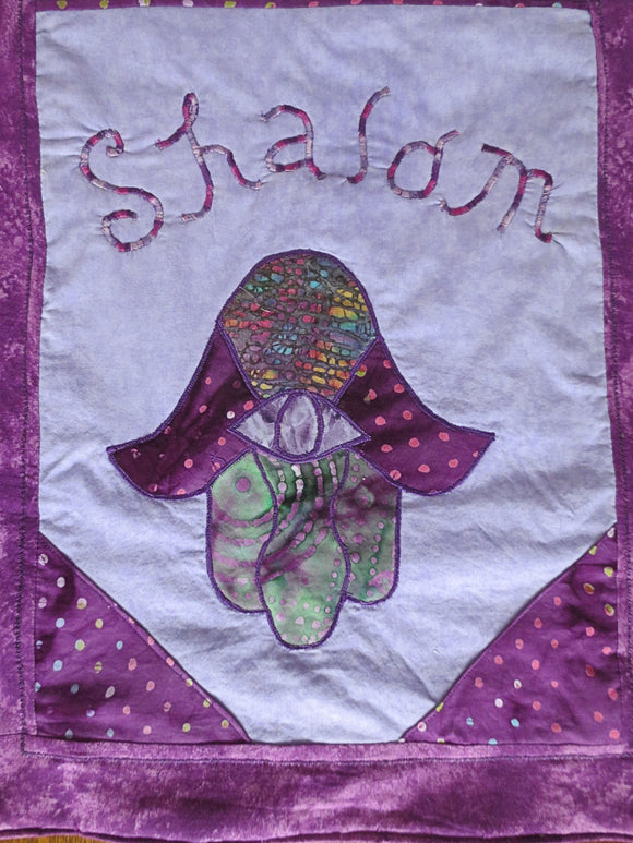 Quilted Hamsa purples applique wall hanging Shalom one of a kind Hand of Fatima