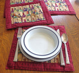 Wine connoisseur quilted reversible placemats set 4 insulated mats