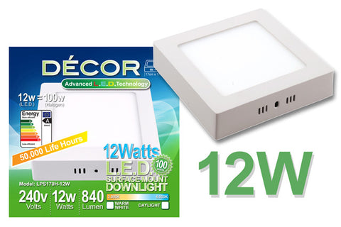 L.E.D. SURFACE MOUNTED PANEL LIGHT (Square) 12W