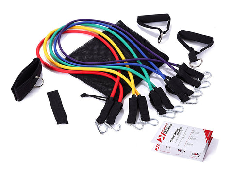 Pure Training 11pc Resistance Band Set and Exercise Starter Guide