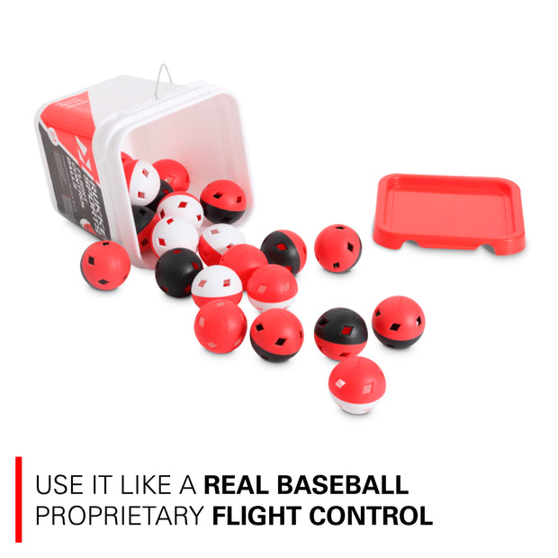24pk Baseball Flight Control Balls w/ Bucket