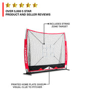 5x5 Baseball / Softball Net w/ Strike Zone Target