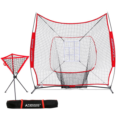 7x7 Baseball / Softball Net w/ Ball Caddy & Strike Zone Target