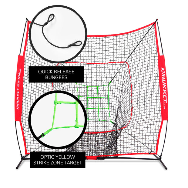 7x7 Original Sock It! Baseball / Softball Net w/ Neon Strike Zone Target
