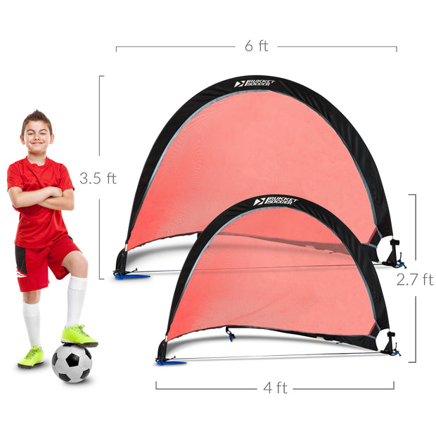Pop Up Soccer Goal - Two Portable Soccer Nets with Carry Bag & Anchoring Stakes (2- pack)
