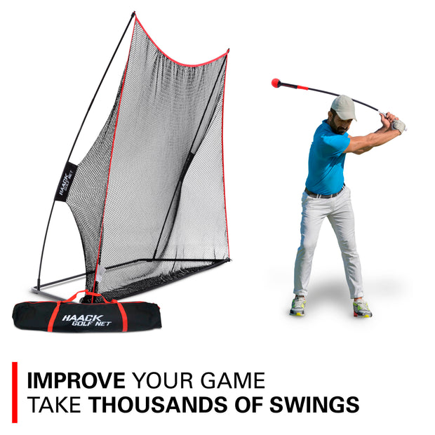 Haack 10x7 Golf Net w/ Weighted Swing Tempo Trainer