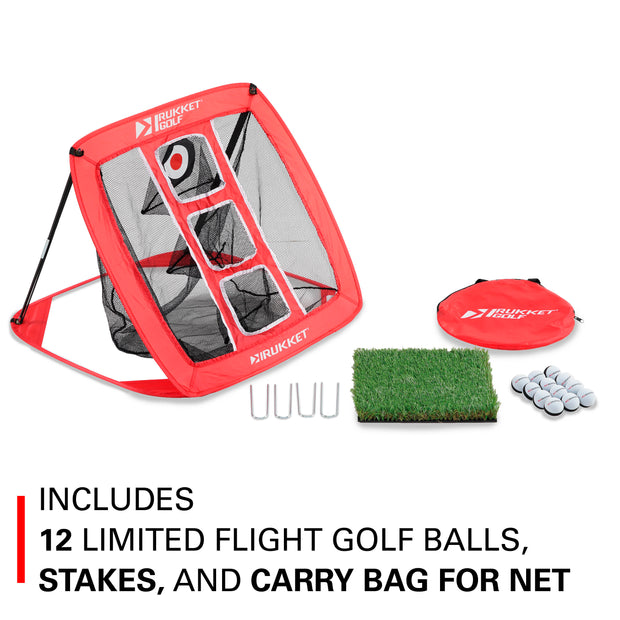 Haack Chipping Net with Turf Mat & 12 Practice Balls