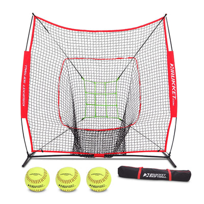 7x7 Softball net w/ 3 Softballs & Adjustable Pitching Target