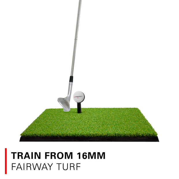 Mini Turf Mat | Fairway Length with Rubber Tee & 9 Foam Golf Balls