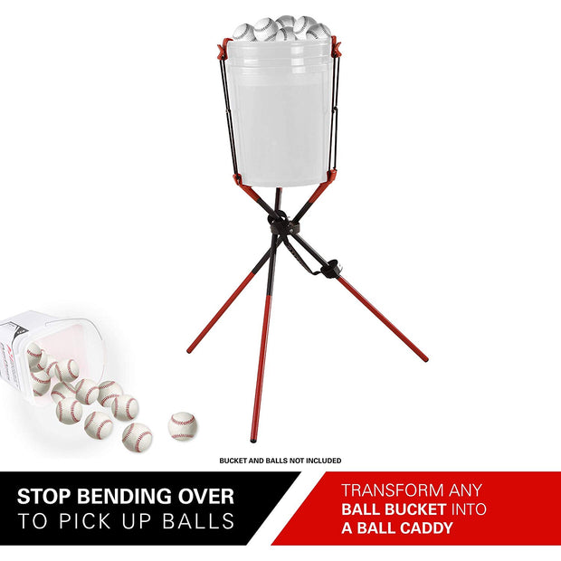 Rukket Baseball & Softball Ball Bucket Holder | Caddy Buddy for Batting Pitching Practice