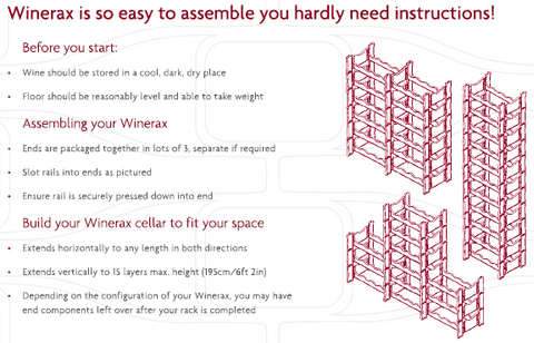 Winerax wine racks are so easy to assemble you hardly need instructions