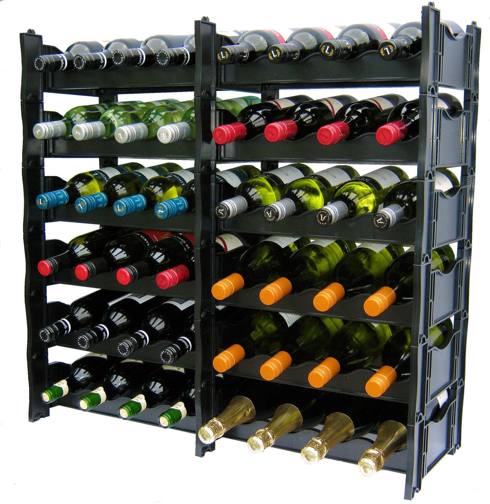 Wine Rack - Winerax 48 Bottle Rack (Side By Side Configuration) - with bottles