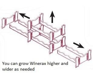 Winerax is a modular wine rack system and can expand in all directions as seen here.