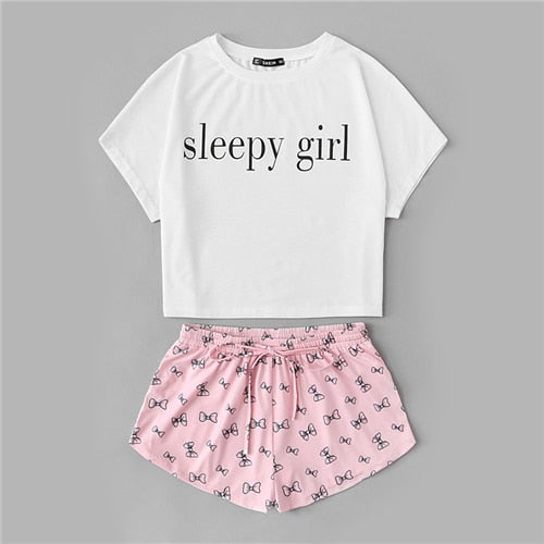 4a8cb93292 Two Piece Set Sleepwear Multicolor Short Sleeve Graphic Letter Print Top  and Drawstring Shorts Pajama Sets