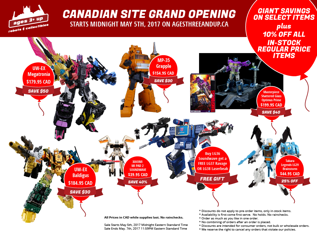 Ages Three and Up Canadian Site Grand Opening Sale!