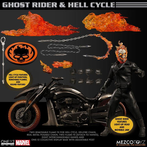 Mezco Toyz - One:12 Marvel: Ghost Rider and Hell Cycle Set