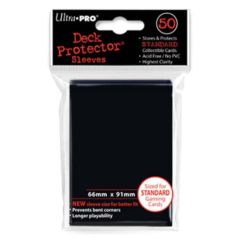 Ultra PRO - Solid Black Deck Protectors - 50 Sleeves