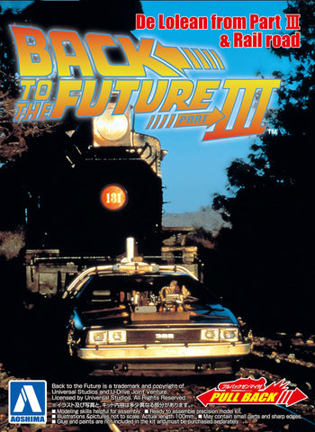 Aoshima - 1/43 Scale Back to the Future Part III: Delorean (Rail Road Version) Pull Back Model Kit