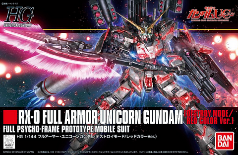 HGUC 1/144 - 199 RX-0 Full Armor Unicorn Gundam (Destroy Mode/Red Color Version)