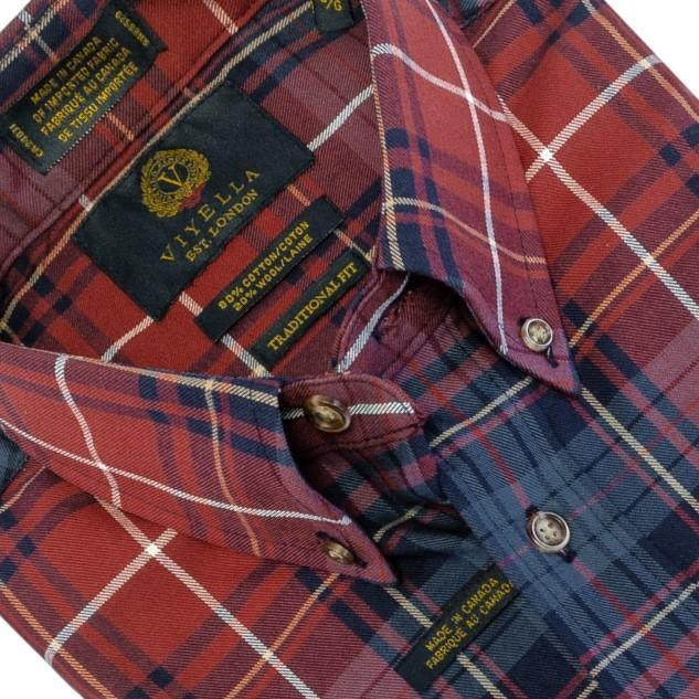 Viyella, Long Sleeve Sport Shirt, Viyella Button-Down Collar Long Sleeve Plaid Sport Shirt - The Abbey Collection