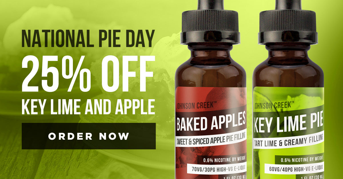 25% off pie flavored e-liquid