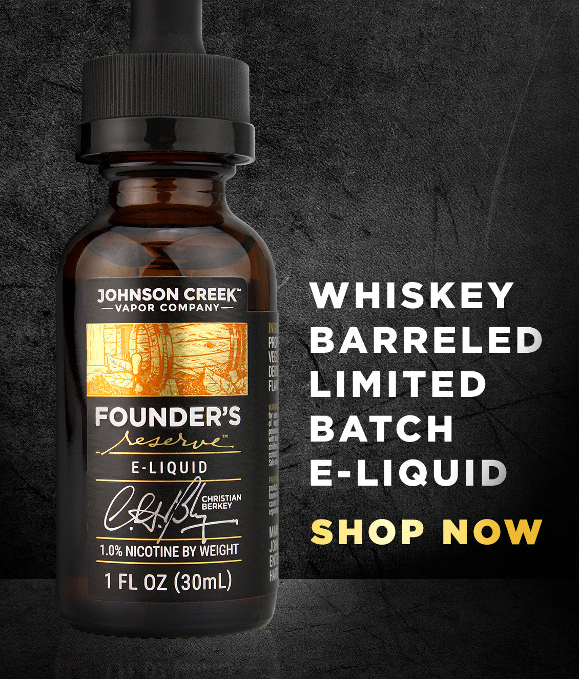 Whiskey-barreled, limited batch, e-liquid available now:
