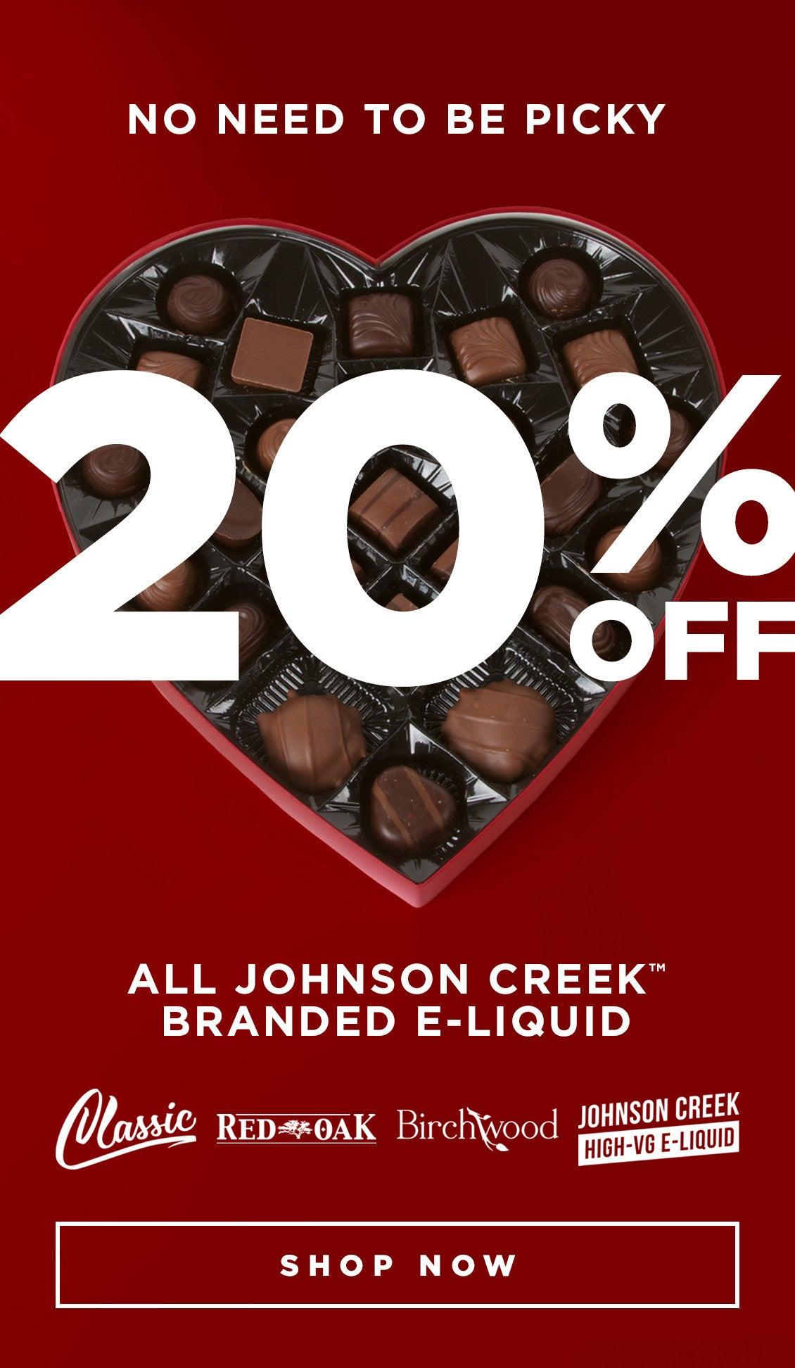 20% off all Johnson Creek branded e-liquid. Shop now: